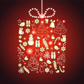 Christmas and New Year vector greeting card — Stock Vector