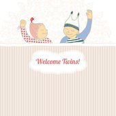 Baby shower card with twins little boy and girl, — 图库矢量图片