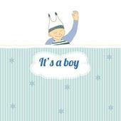小さな男の子の睡眠とベビー シャワー カード — ストックベクタ