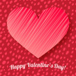 Valentine's day card on hand drawn dots background — Vecteur