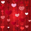 Red Love Valentin's Day Seamless Pattern - Stock Vector