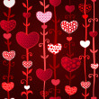 Red Dark Love Valentin's Day Seamless Pattern — Stock Vector