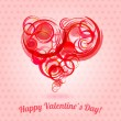 Red circle hearts,  abstract Valentine's day card — Vettoriali Stock