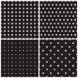 Black and White polka dots set of four seamless patterns seamless pattern — Stock Vector