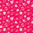 Valentines day Love Doodle Floral seamless Pattern — Stock Vector