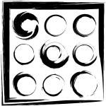 Vector set of grunge circle brush strokes. Set 2 — Stock Vector