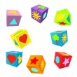 Set of 3D colorful childish play cubes — Stock Vector