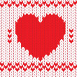 Knitted textile decorative valentine heart — Stock Vector