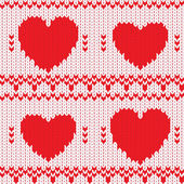 Knitted textile decorative valentine hearts — Stock Vector