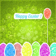 Stock Vector: Easter green background with ornament eggs