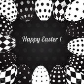 Black and White Vector Background of Easter Eggs — Stok Vektör