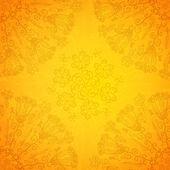 Vintage ethnic vector ornament orange background — Stock Vector