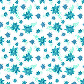 Vintage blue and white floral seamless pattern — Stock Vector