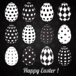 Set of Black Easter Eggs with Patterns. Vector — Imagens vectoriais em stock
