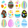 3d vector easter eggs set with shadows — Stock Vector