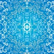 Blue symmetric floral ornament background — Stock Vector