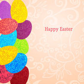 Easter background with colorful ornament eggs — Stock Vector