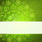 Green abstract floral ornament background — Stock Vector