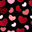 Red and Black Love Valentin's Day Seamless Pattern — Imagen vectorial