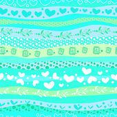 Blue Love Valentin's Day Waves Seamless Background — Stockvektor