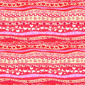 Red Love Valentin's Day Waves Seamless Background — 图库矢量图片
