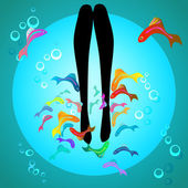 Vector fish spa pedicure wellness care treatment — Stock Vector