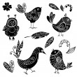 Black silhouettes bird and flower doodle set — Stock Vector