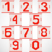 Vintage knitted red numbers set — Stock Vector