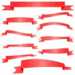 Ornament Decorated Red Ribbons Set on White — Stock Vector