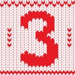 Vector de stock : Knitted number three on knitted frame background.