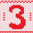 Cтоковый вектор: Knitted number three on knitted frame background.