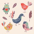 Color vintage cute cartoon birds doodle set — Stock Vector