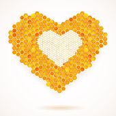 Vector card with Big Heart Honeycomb — Stock Vector