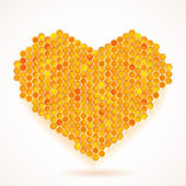 Vector card with Big Heart Honeycomb — Stock Vector