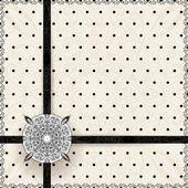 Vintage lace polka dots vector ornament card — Stock Vector
