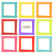 9 wooden picture frames color set — Stock Vector