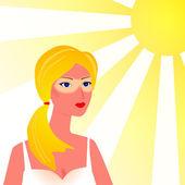 Cildi güneş yanığı beach ile kız — Stok Vektör