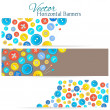 Set of 3 banners with vintage buttons — Stock Vector