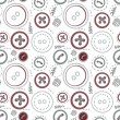 Vintage buttons sew seamless pattern — Stock Vector
