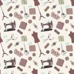 Ретро бесшовный паттерн с швейные аксессуары — Cтоковый вектор #26437673