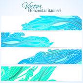 Ensemble de trois bannières avec vagues dessinées à la main — Vecteur