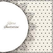 Carte d'ornement dentelle vintage polka dots vector — Vecteur