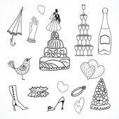 Wedding set of cute hand drawn icons — Stock Vector