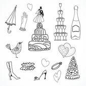 Bröllop uppsättning söta hand dras ikoner — Stockvektor