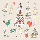 Wedding set of cute hand drawn icons — Διανυσματικό Αρχείο