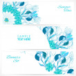 Vector de stock : Blue floral ornament banners set