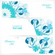 Wektor stockowy : Blue floral ornament banners set