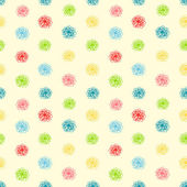 Summer seamless background with flower polka dots — Stock Vector