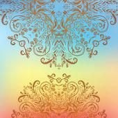 Rainbow floral ornament mandala background card — Stock Vector