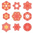 Vector set of vintage icons elements with floral design — Stock Vector